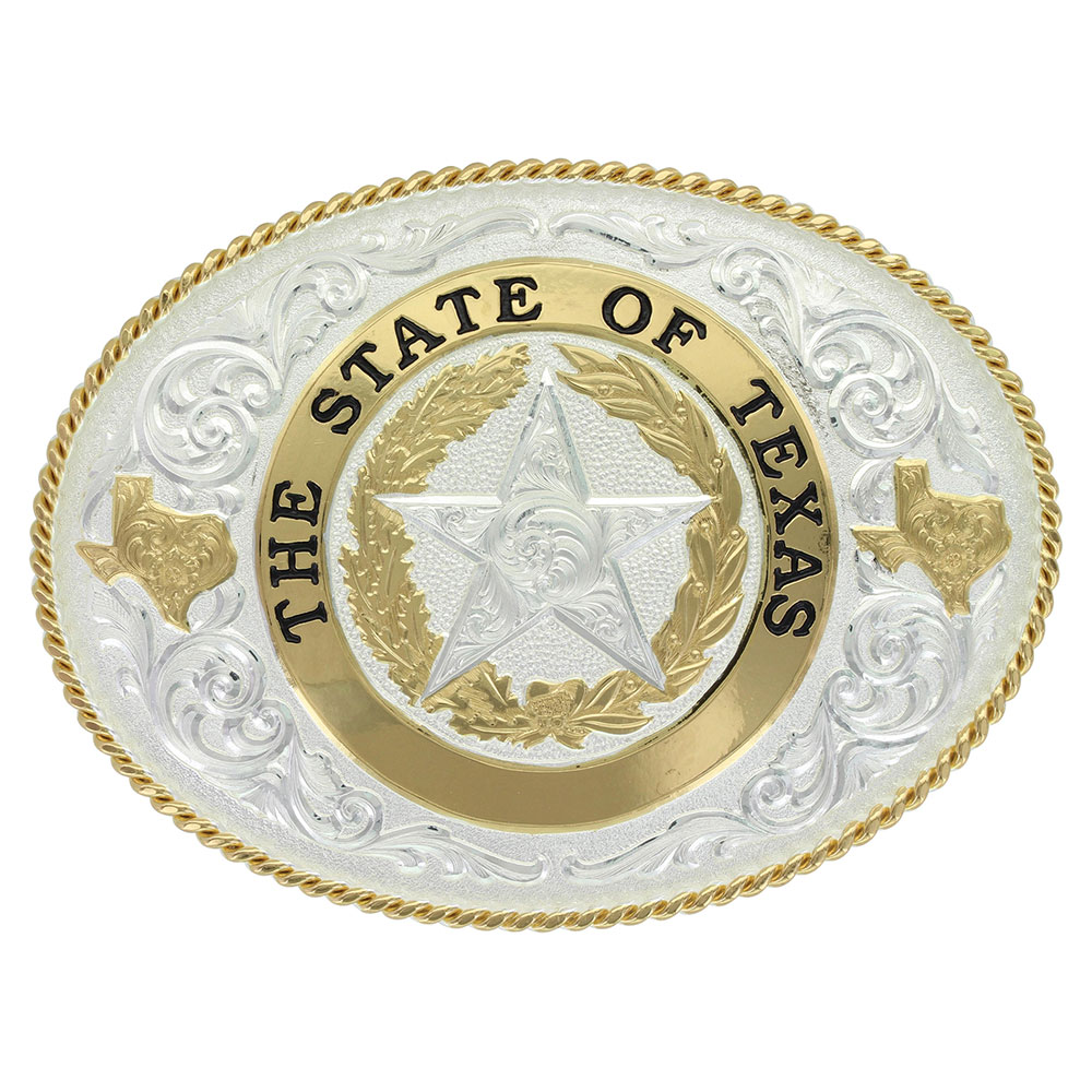 State of Texas Star Seal Western Belt Buckle