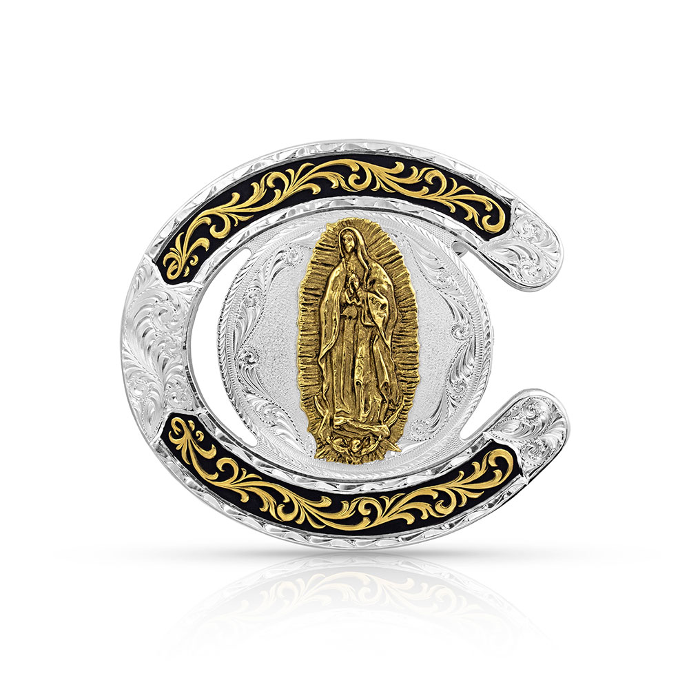 Two Tone Horseshoe Our Lady of Guadalupe Buckle