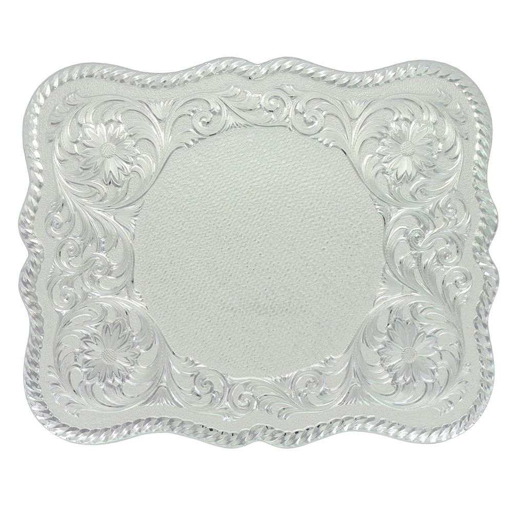 Scalloped Silver Engraved Buckle (4.5