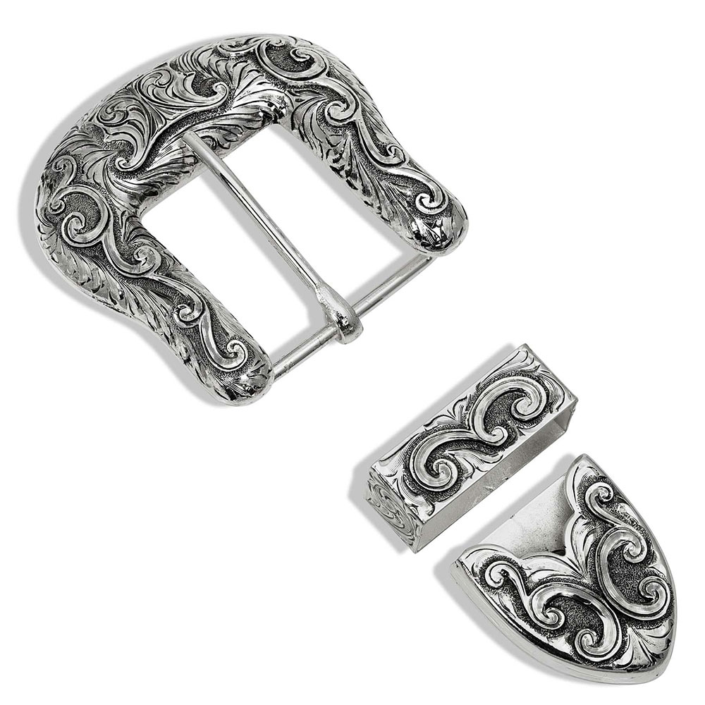 Antiqued Scroll Buckle Set