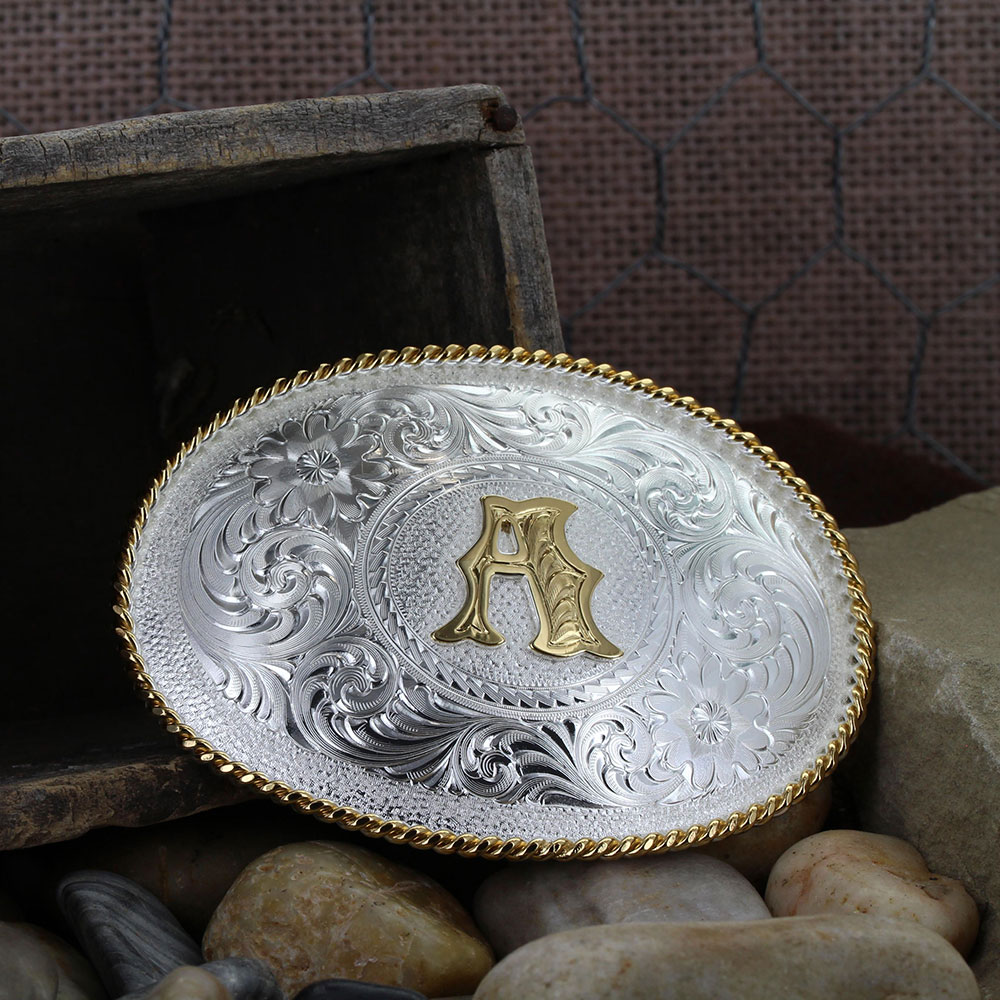 Initial A Silver Engraved Gold Trim Western Belt Buckle