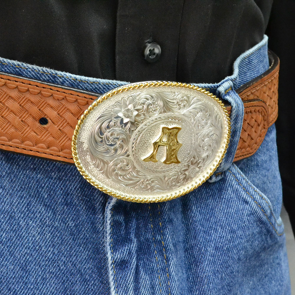 Initial Silver Engraved Gold Trim Western Belt Buckle