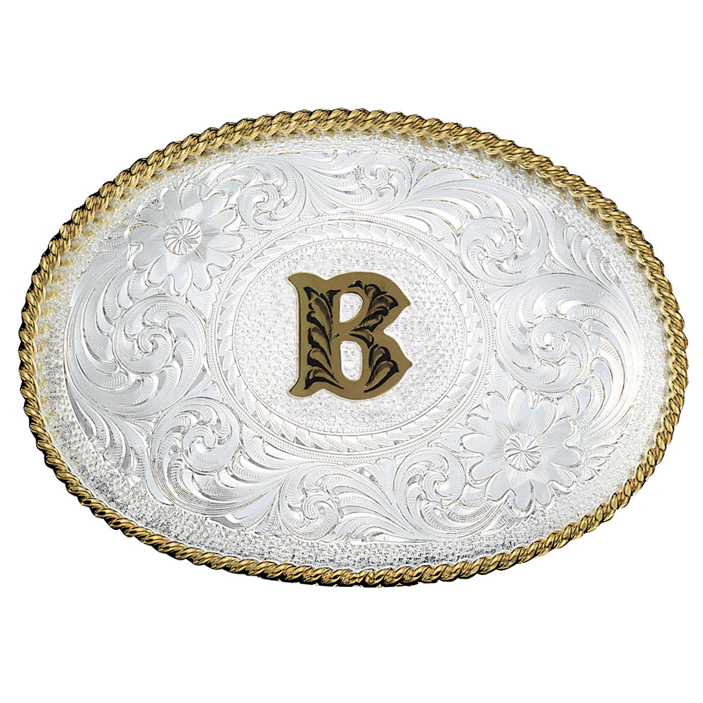 Initial B Silver Engraved Gold Trim Western Belt Buckle