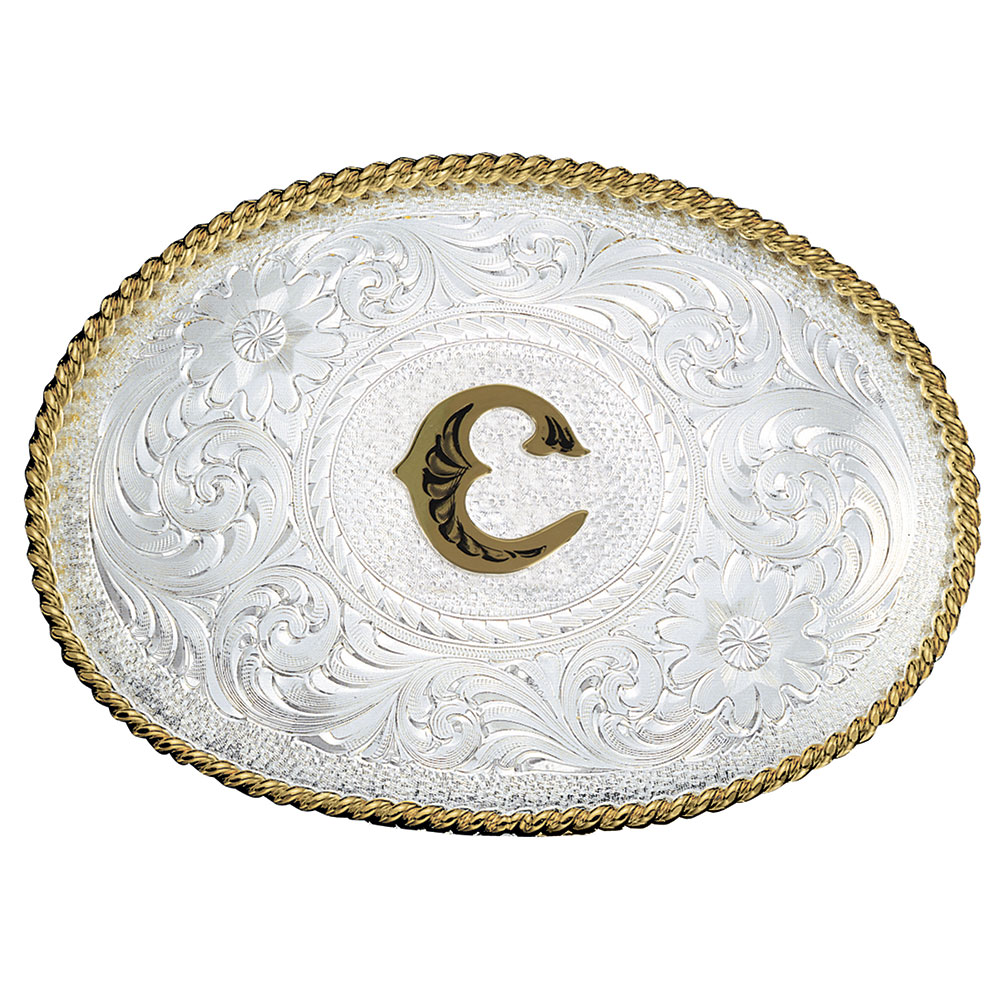 Initial C Silver Engraved Gold Trim Western Belt Buckle