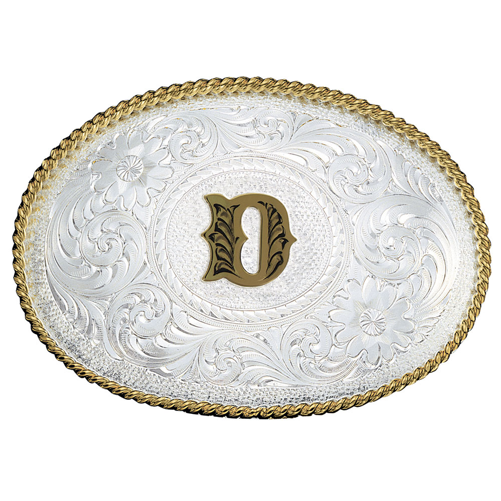 Initial D Silver Engraved Gold Trim Western Belt Buckle