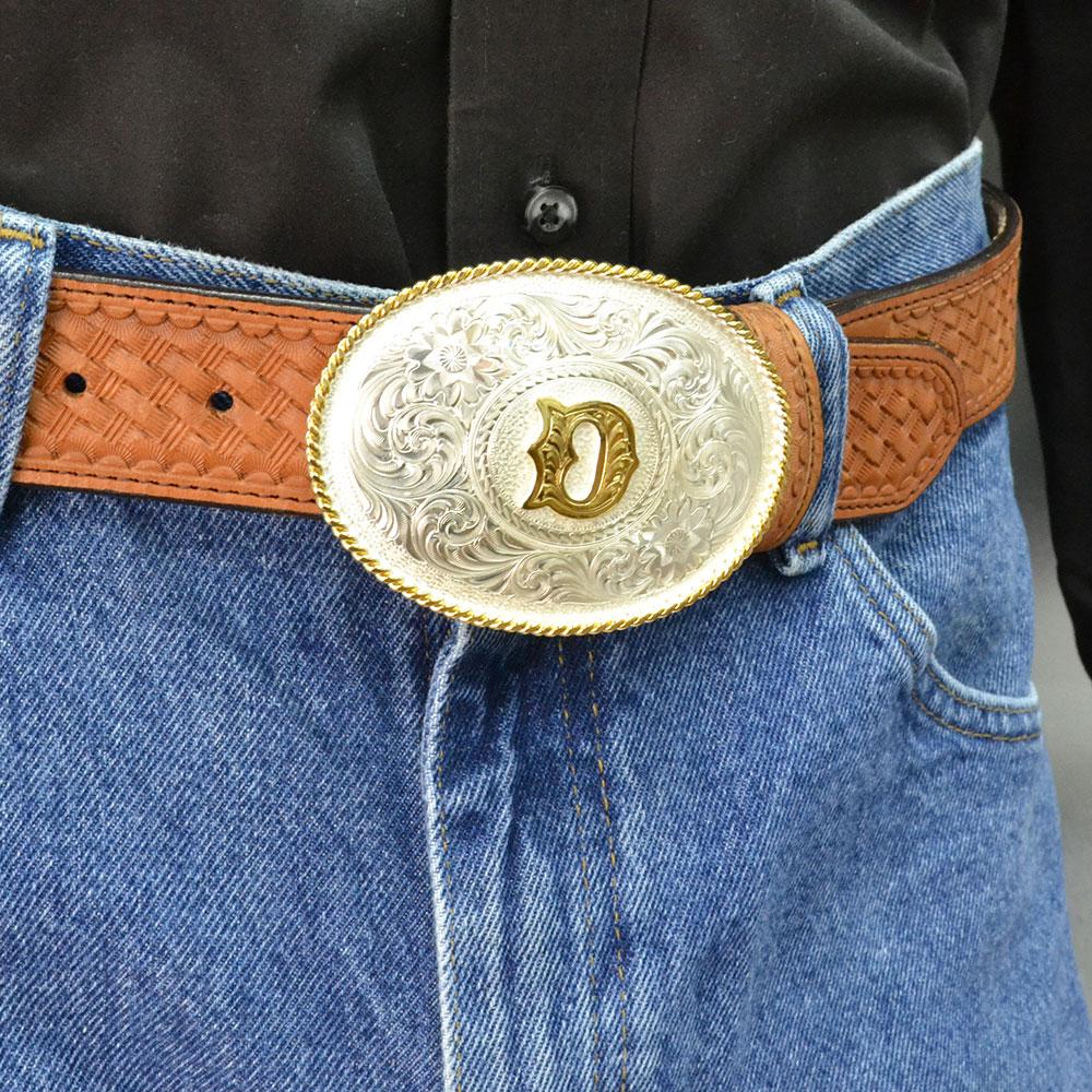 Initial D Silver Engraved Gold Trim Western Belt Buckle