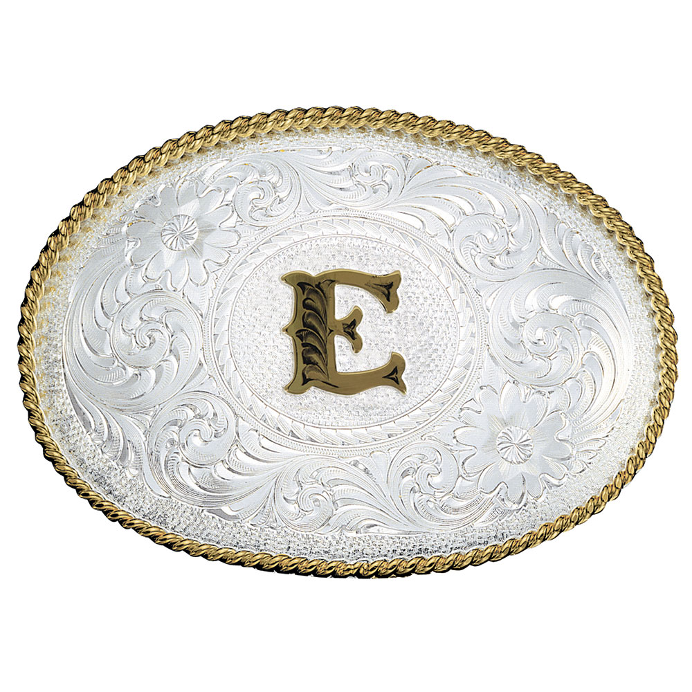 Initial E Silver Engraved Gold Trim Western Belt Buckle