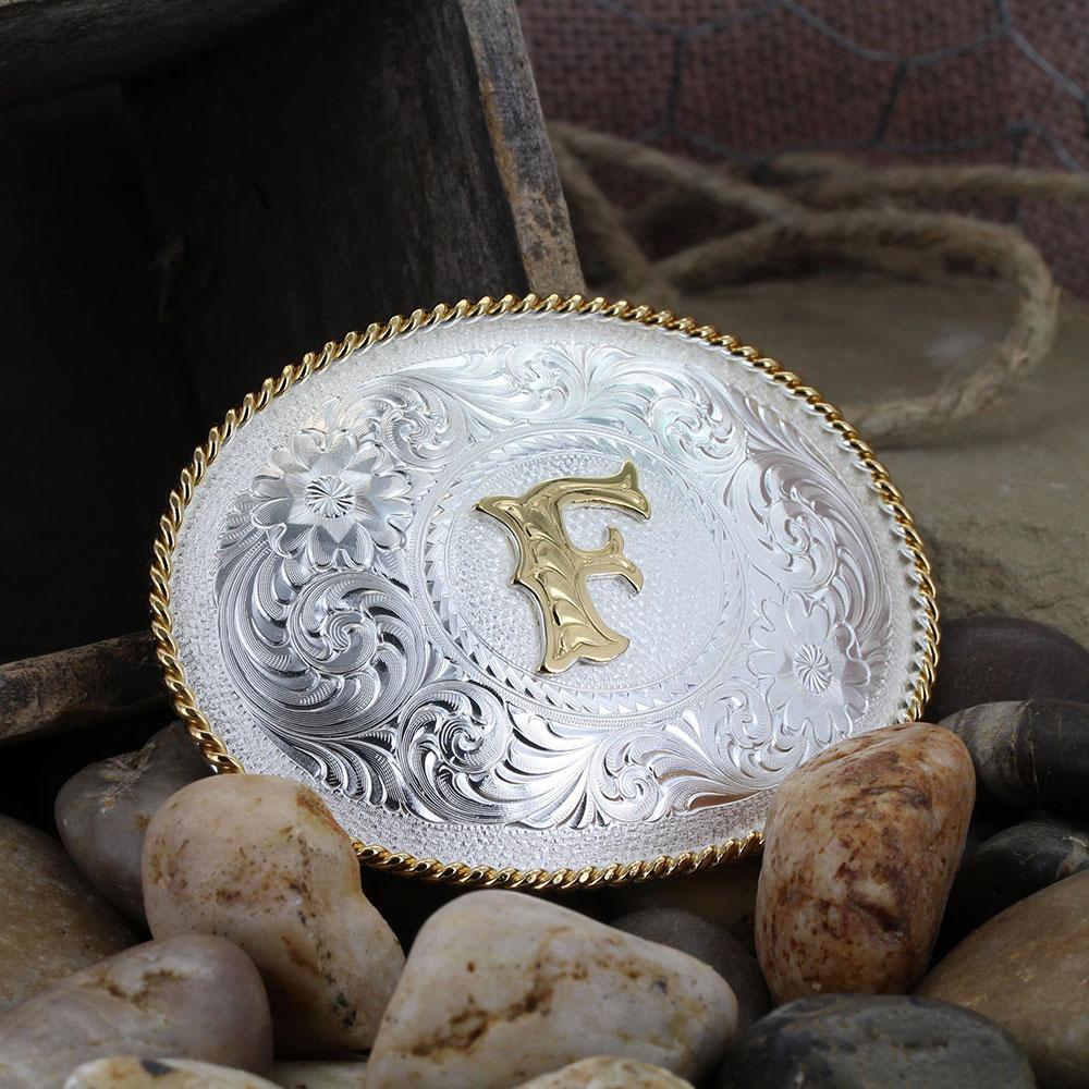 Initial F Silver Engraved Gold Trim Western Belt Buckle