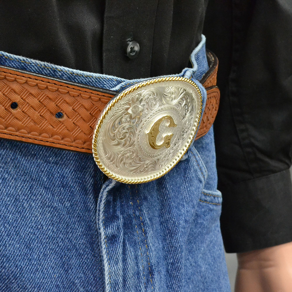 Initial G Silver Engraved Gold Trim Western Belt Buckle