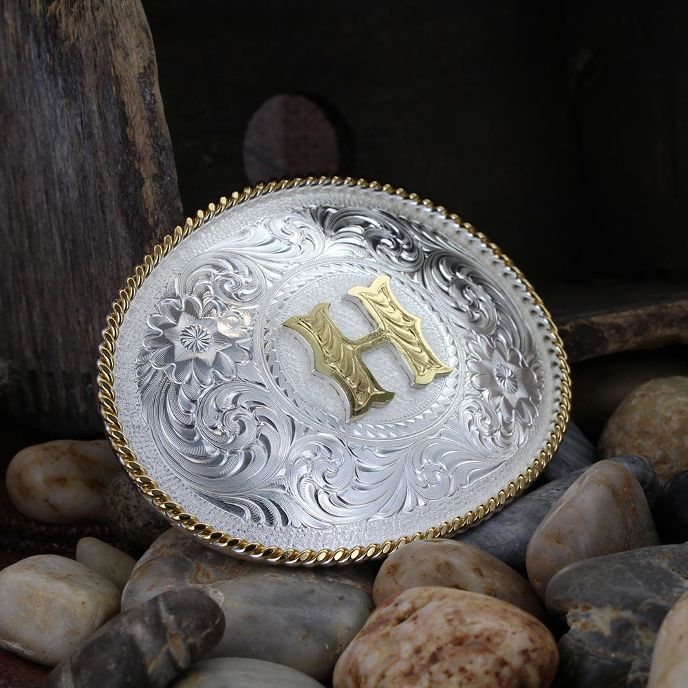 Initial H Silver Engraved Gold Trim Western Belt Buckle