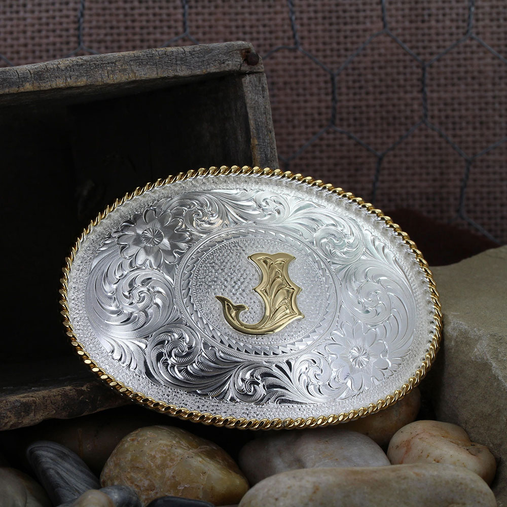 Initial J Silver Engraved Gold Trim Western Belt Buckle