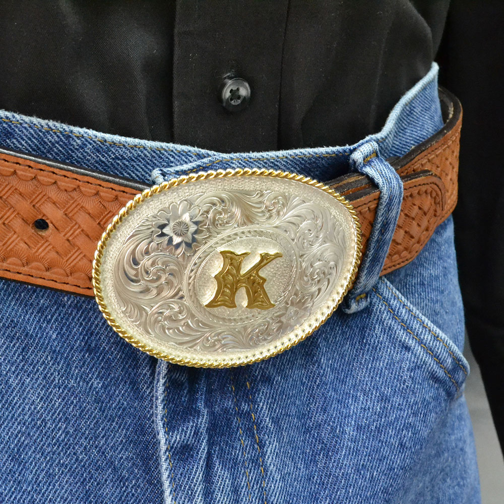 Initial K Silver Engraved Gold Trim Western Belt Buckle