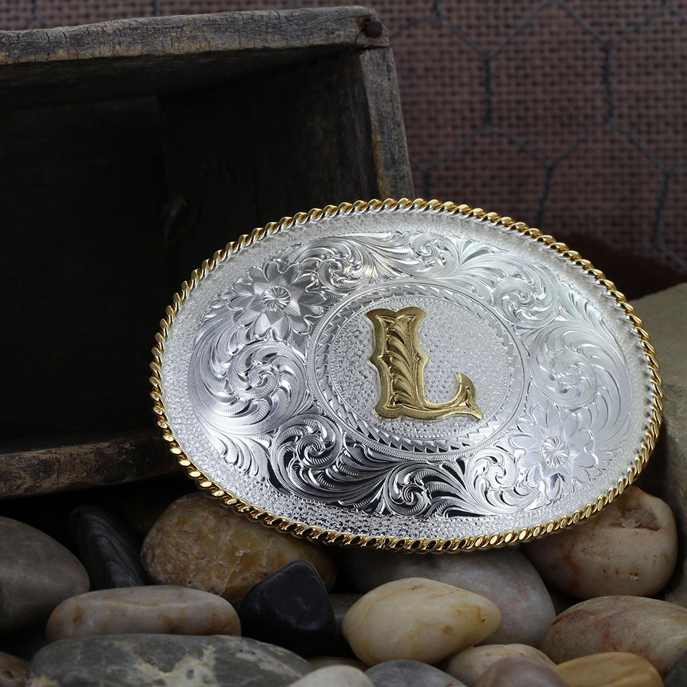 Initial L Silver Engraved Gold Trim Western Belt Buckle