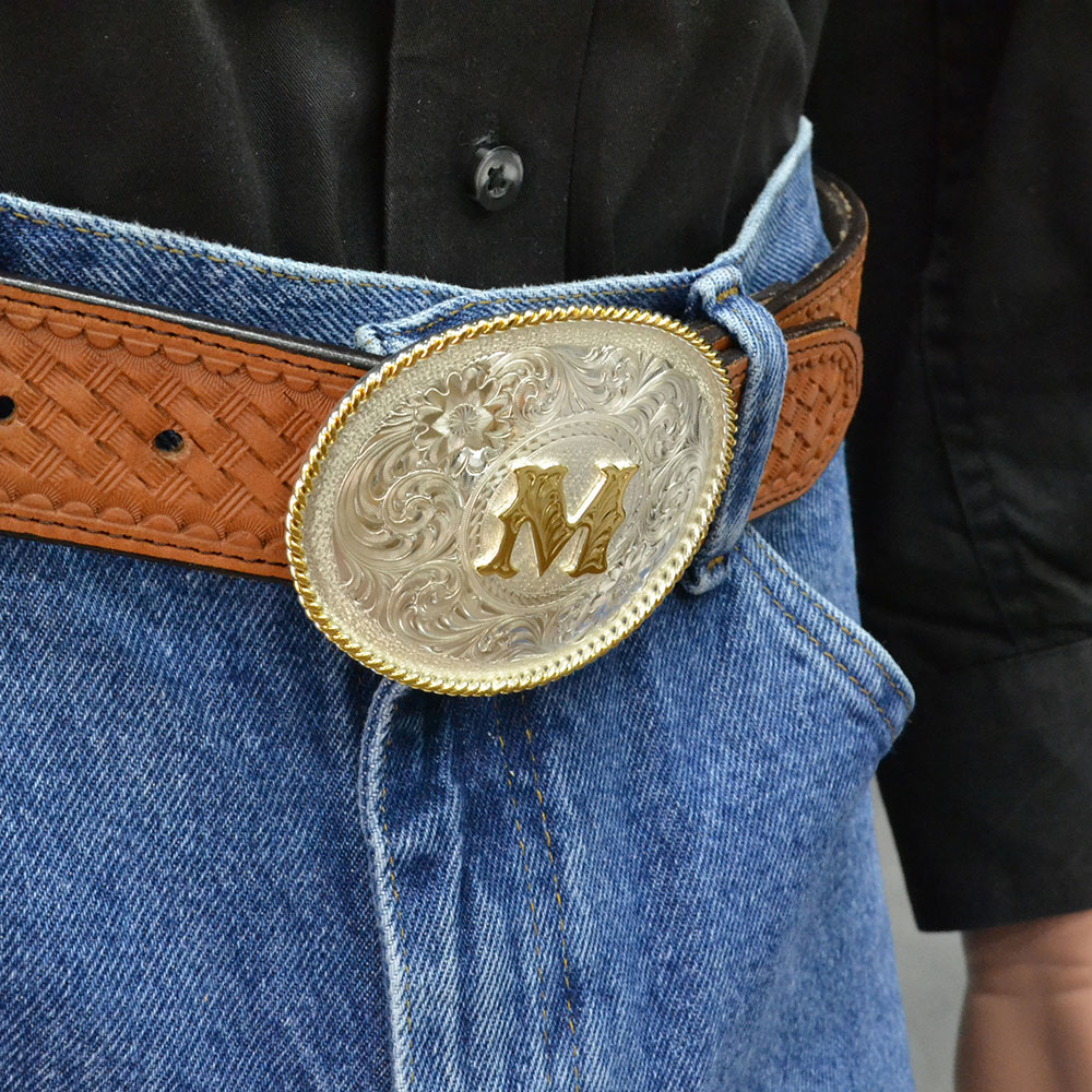 Initial M Silver Engraved Gold Trim Western Belt Buckle