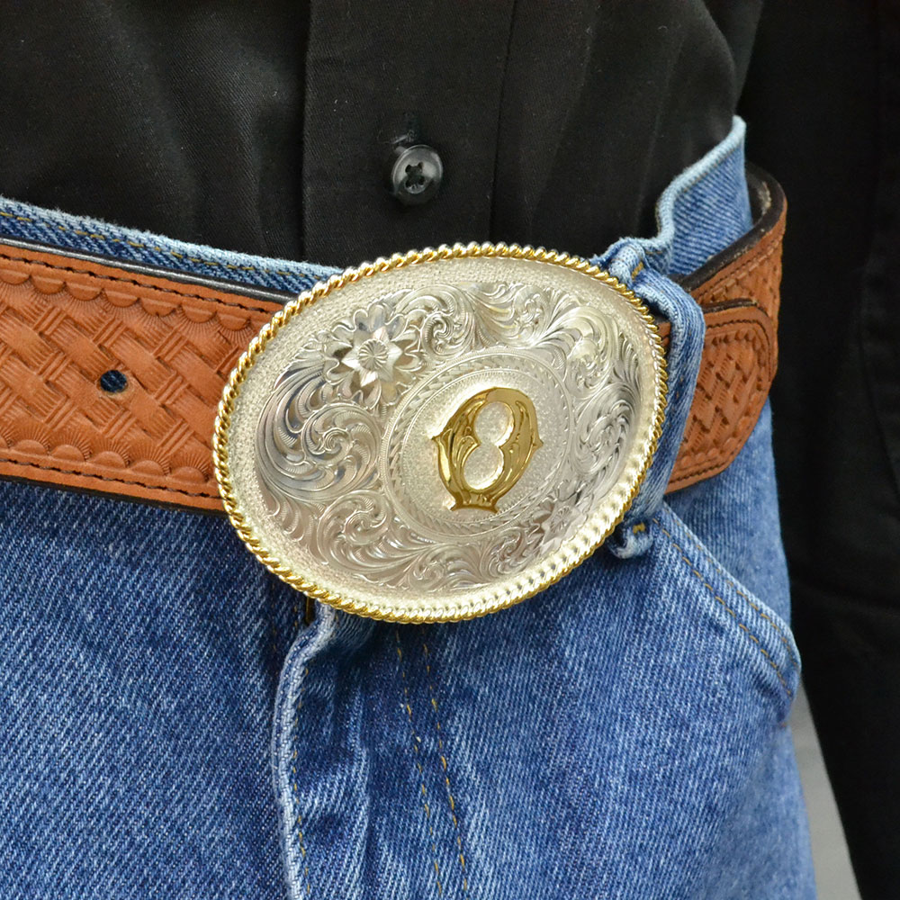 Initial O Silver Engraved Gold Trim Western Belt Buckle