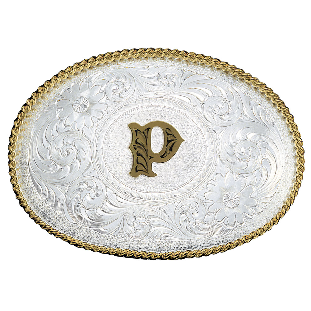 Initial P Silver Engraved Gold Trim Western Belt Buckle