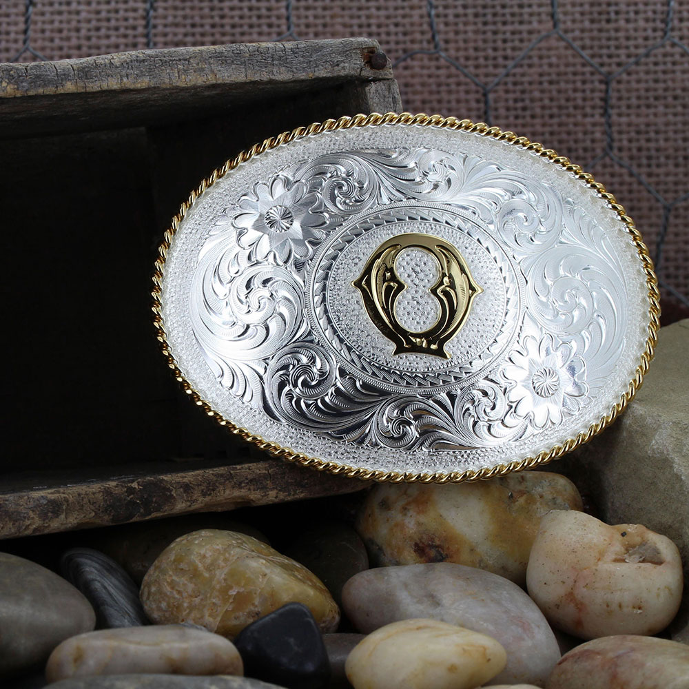 Initial Q Silver Engraved Gold Trim Western Belt Buckle