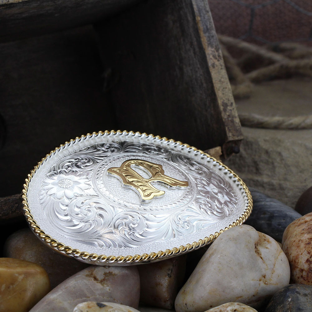Initial R Silver Engraved Gold Trim Western Belt Buckle