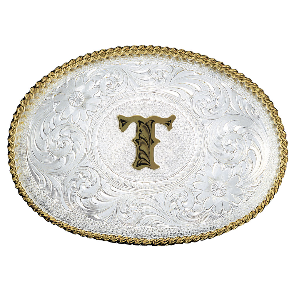 Initial T Silver Engraved Gold Trim Western Belt Buckle