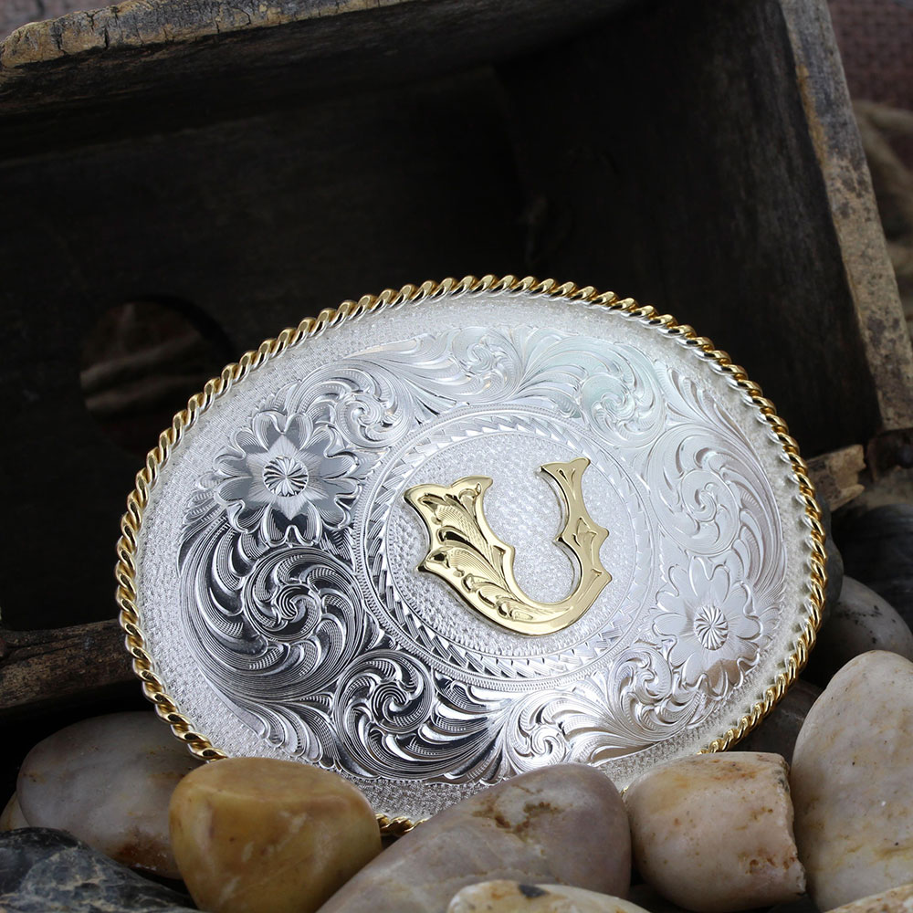Initial U Silver Engraved Gold Trim Western Belt Buckle