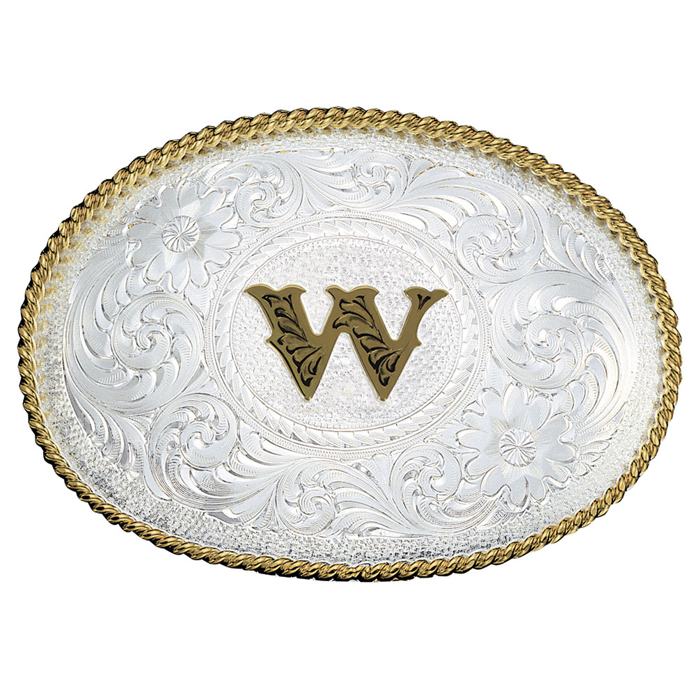 Initial W Silver Engraved Gold Trim Western Belt Buckle