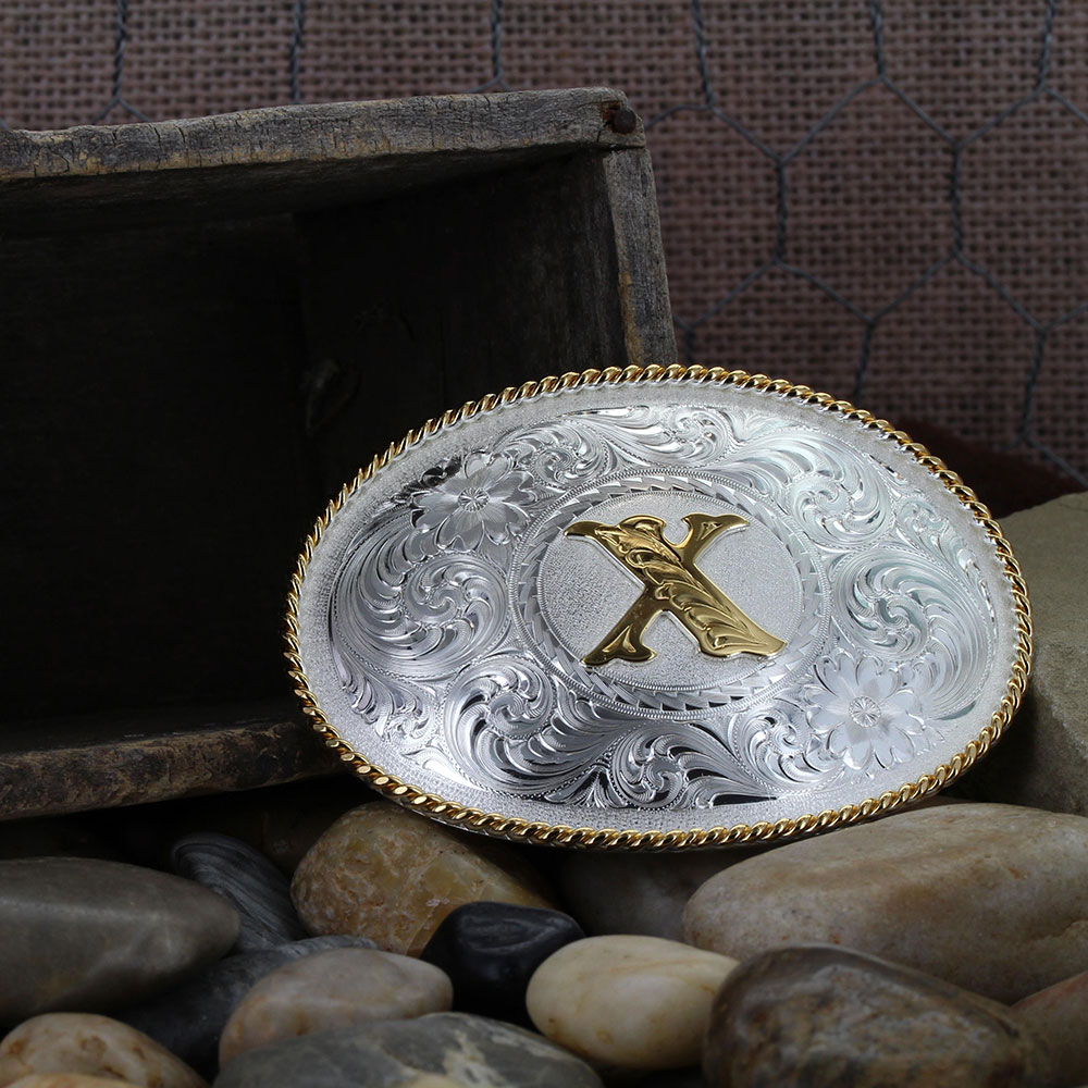 Initial X Silver Engraved Gold Trim Western Belt Buckle