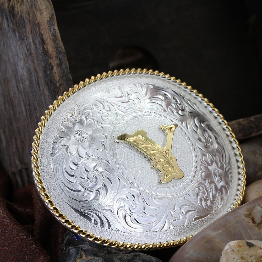 Initial Y Silver Engraved Gold Trim Western Belt Buckle