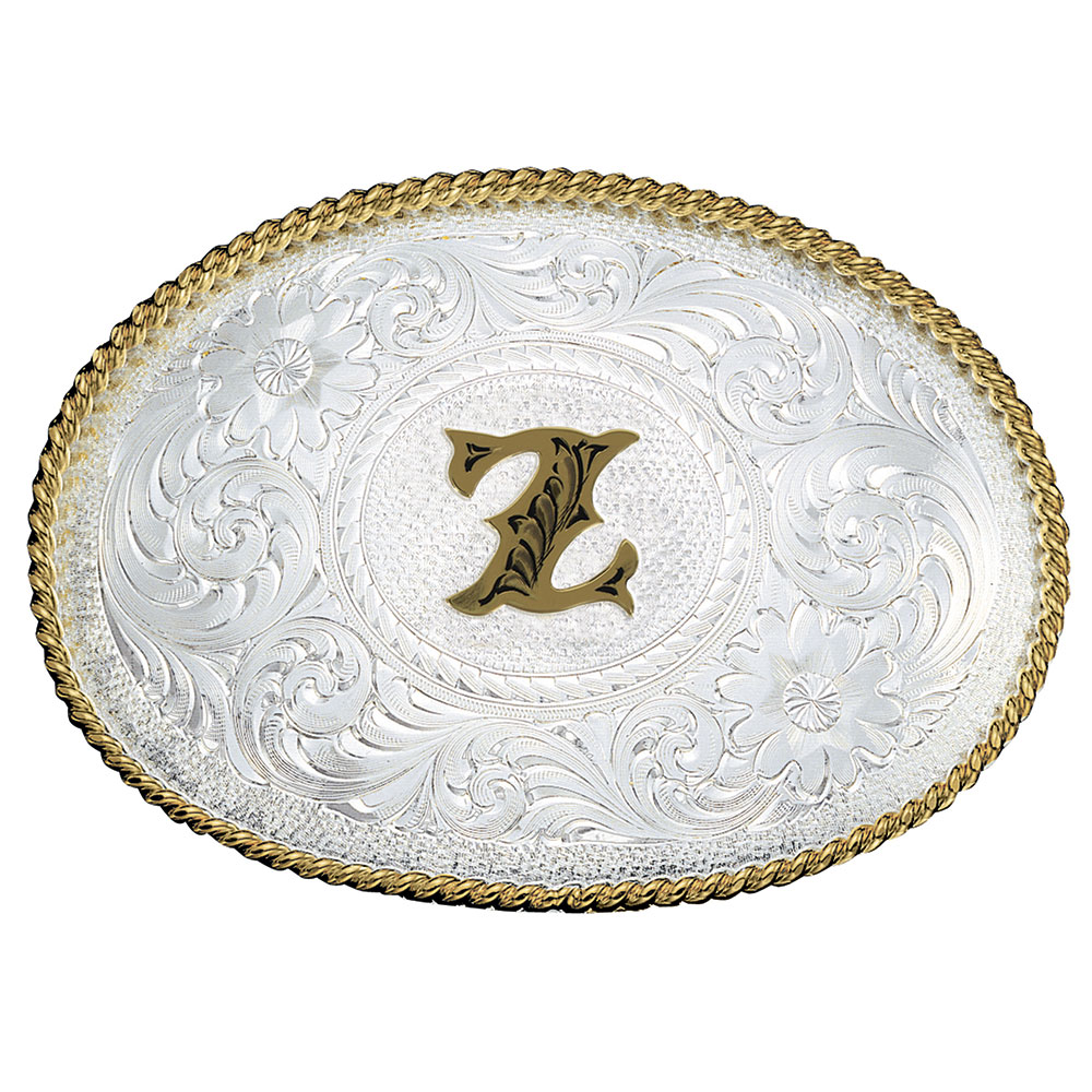 Initial Z Silver Engraved Gold Trim Western Belt Buckle