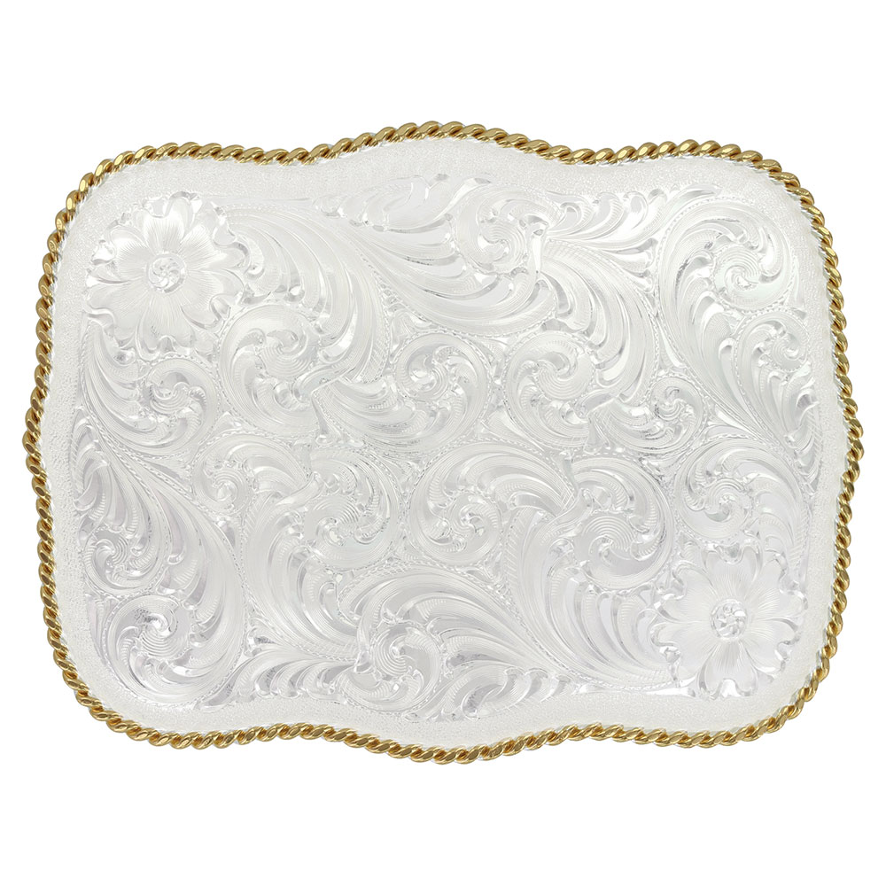 Large Scalloped Silver Engraved Western Belt Buckle