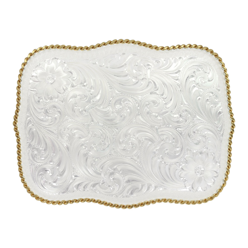 Custom Large Scalloped Silver Engraved Western Belt Buckle (4.25