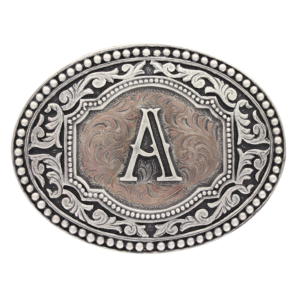 Initial Two Tone Cameo Attitude Buckle