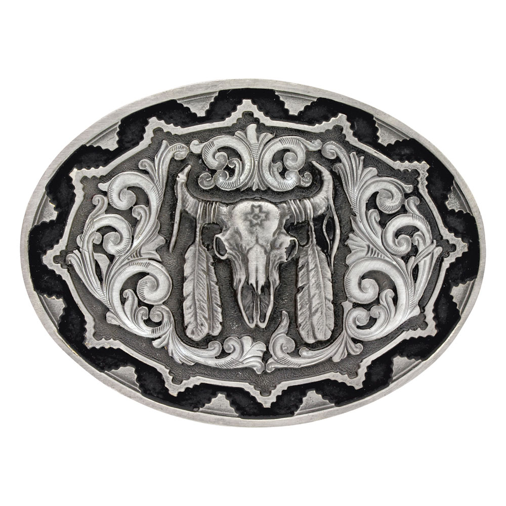 Southwest Classic Impressions Buffalo Skull With Feather Attitude Buckle