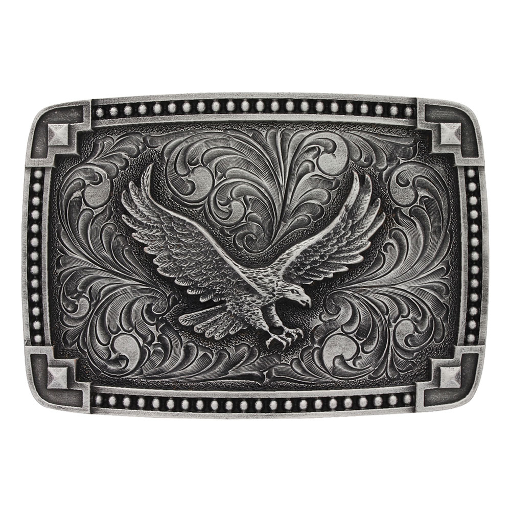Classic Antiqued Tied at the Corners Attitude Buckle with Soaring Eagle