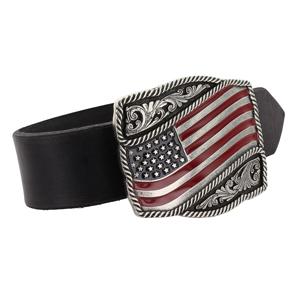 Classic Painted Waving American Flag Attitude Buckle