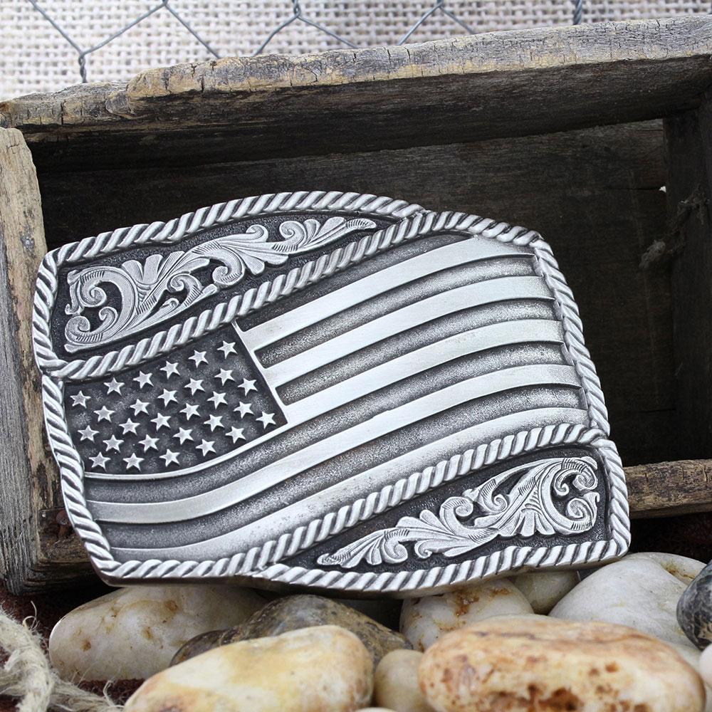 Classic Impressions Waving American Flag Attitude Buckle