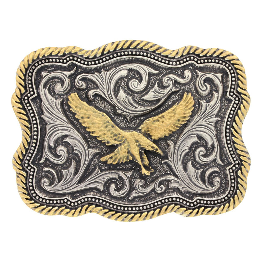 Classic Impressions Two Tone Twisted Rope and Pinpoints Attitude Soaring Eagle Buckle