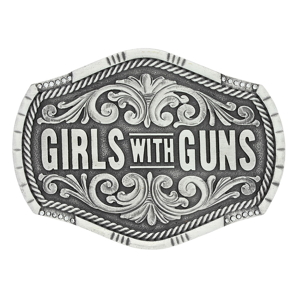 Keeping Tabs on Girls with Guns Attitude Buckle
