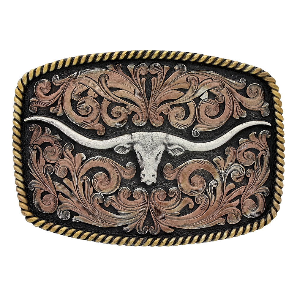 Tri-Color Texas Longhorn Attitude Buckle