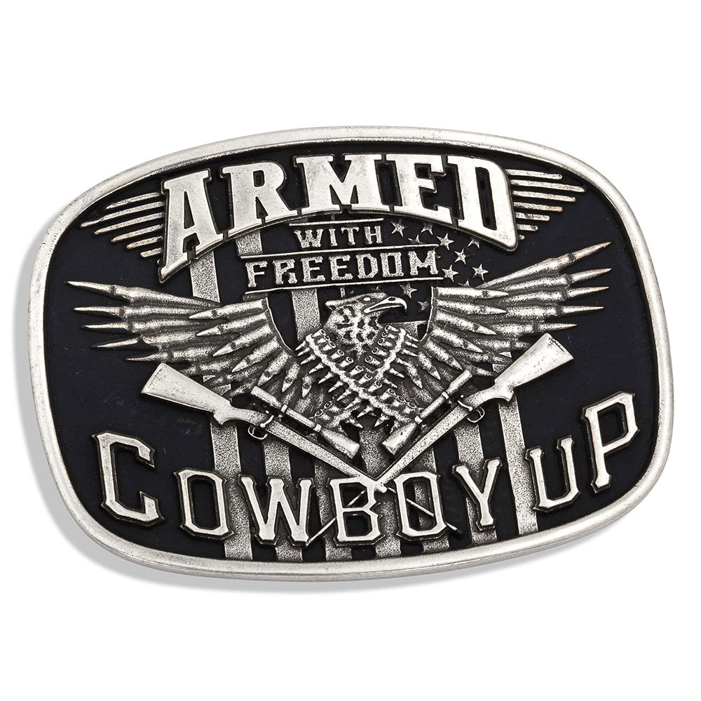 Antiqued Cowboy Up Armed with Freedom Eagle Attitude Buckle