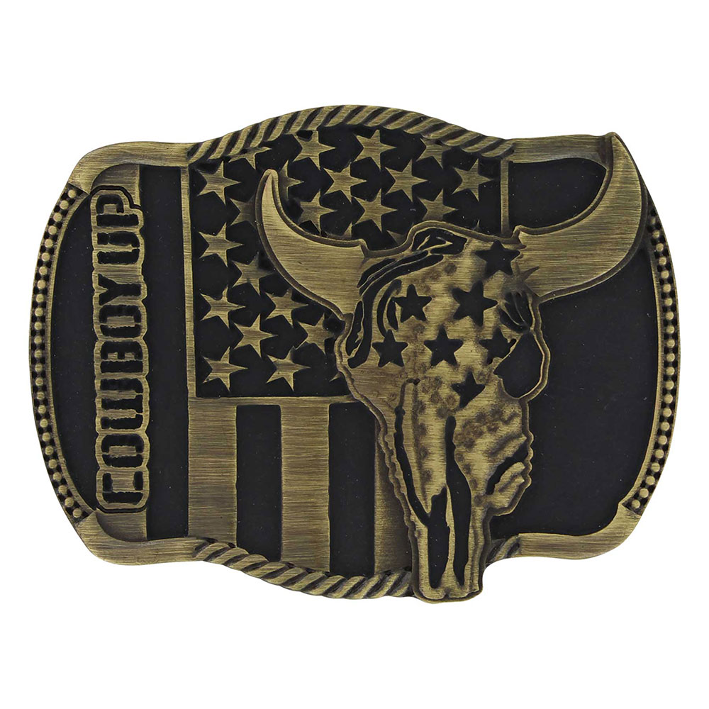 Cowboy Up Strength in Heritage Attitude Buckle