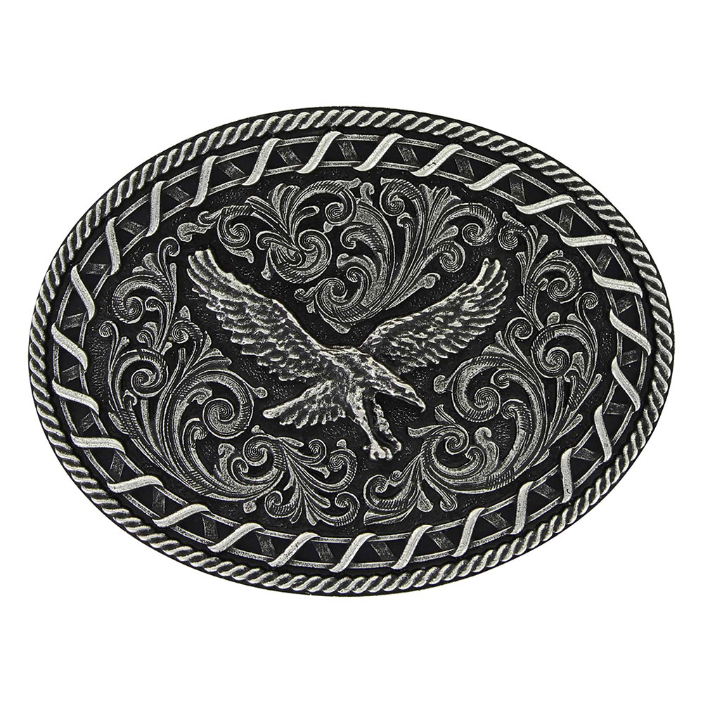 Antiqued Buck Stitch Oval Soaring Eagle Attitude Buckle