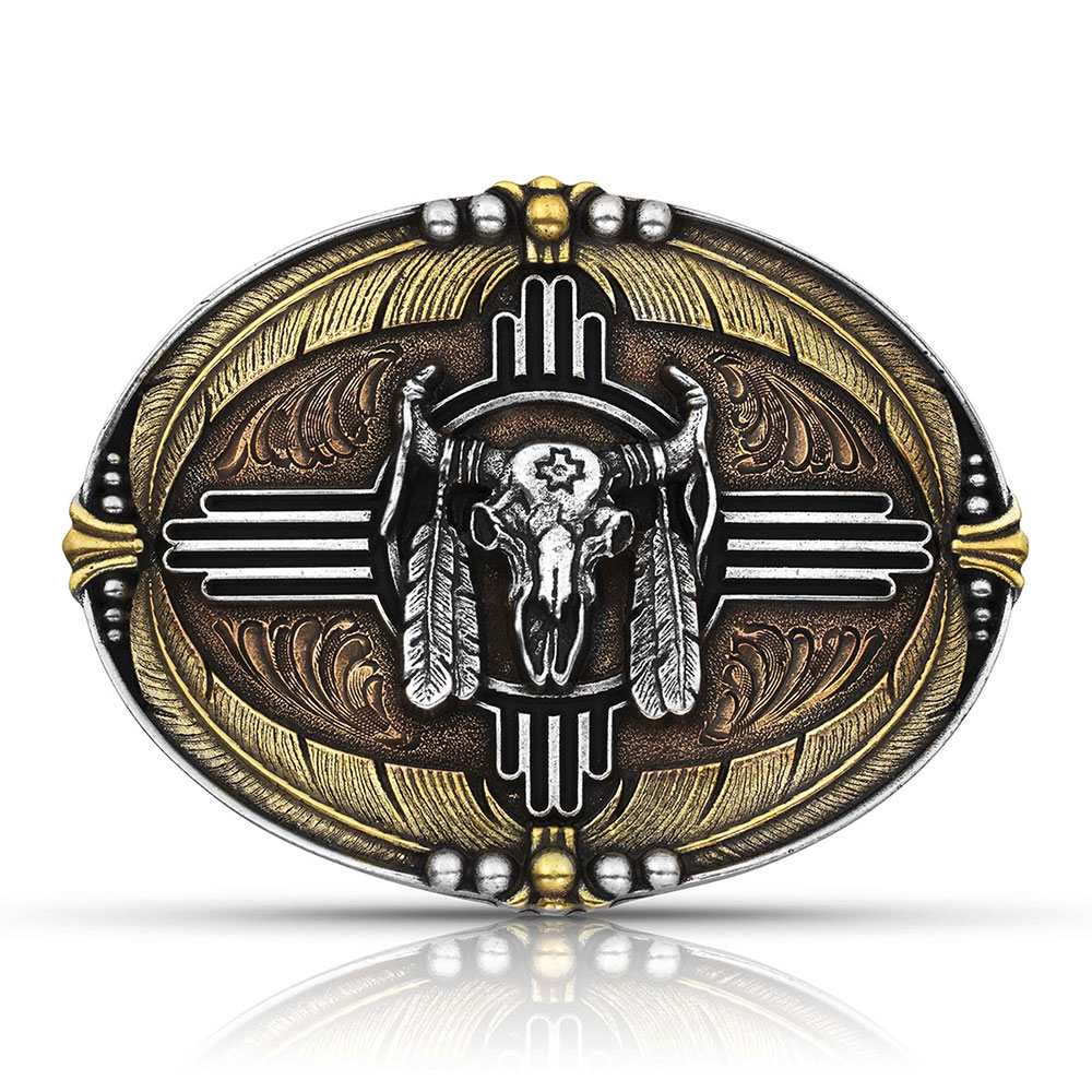 Tri-Color Southwestern Buffalo Attitude Buckle