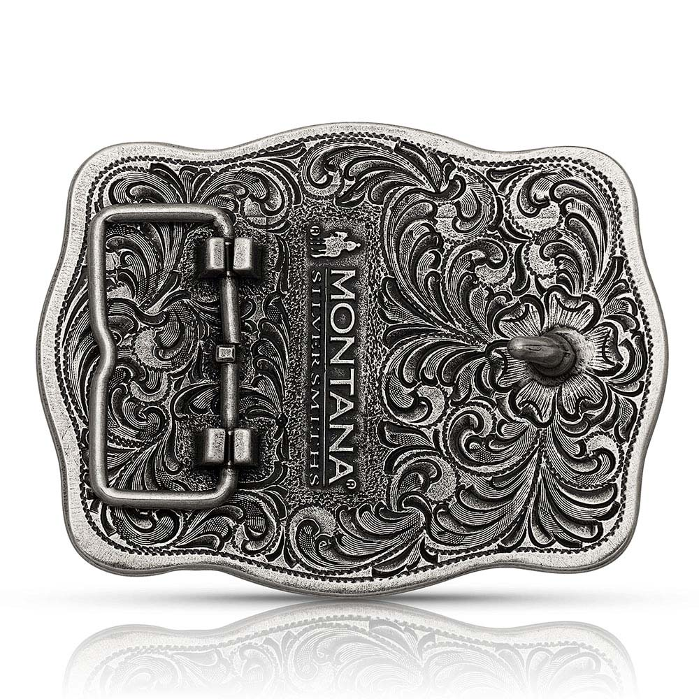 Tri-Color Filigree Road Ranch Bronc Attitude Buckle