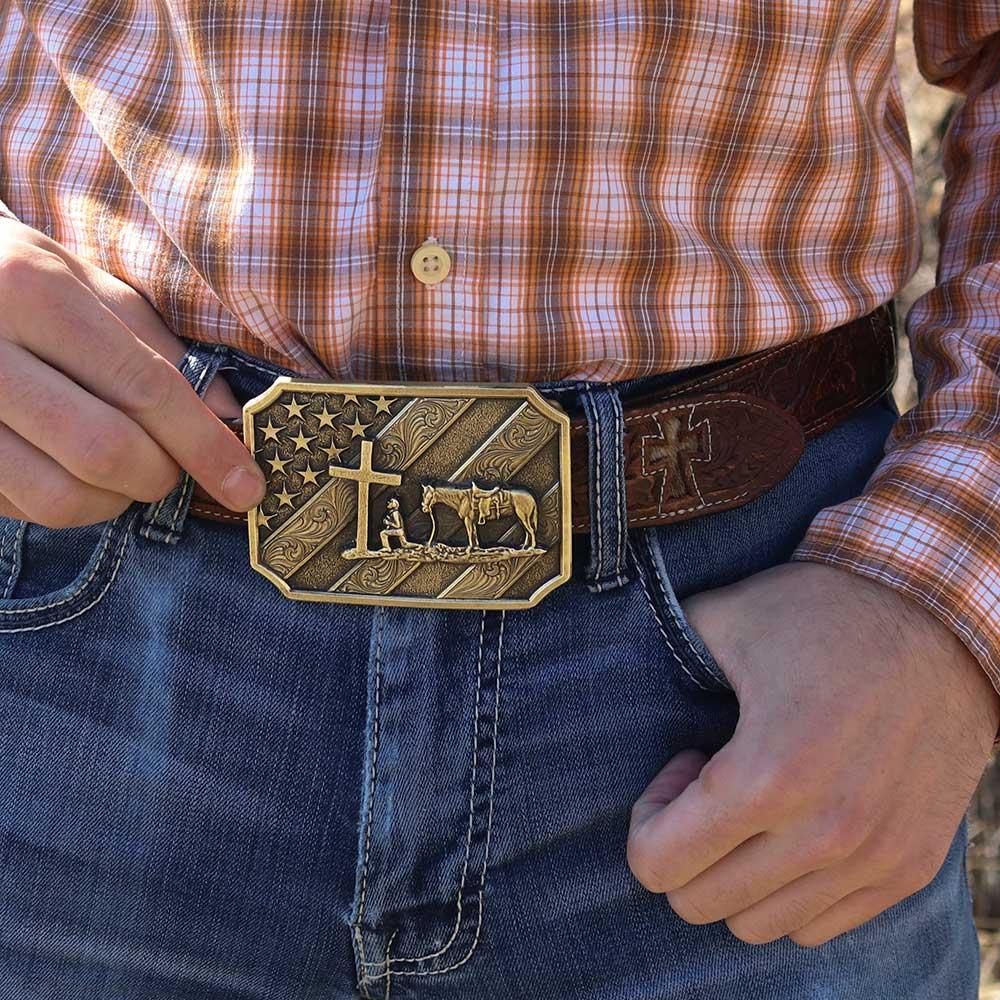 Patriot Christian Cowboy Attitude Belt Buckle