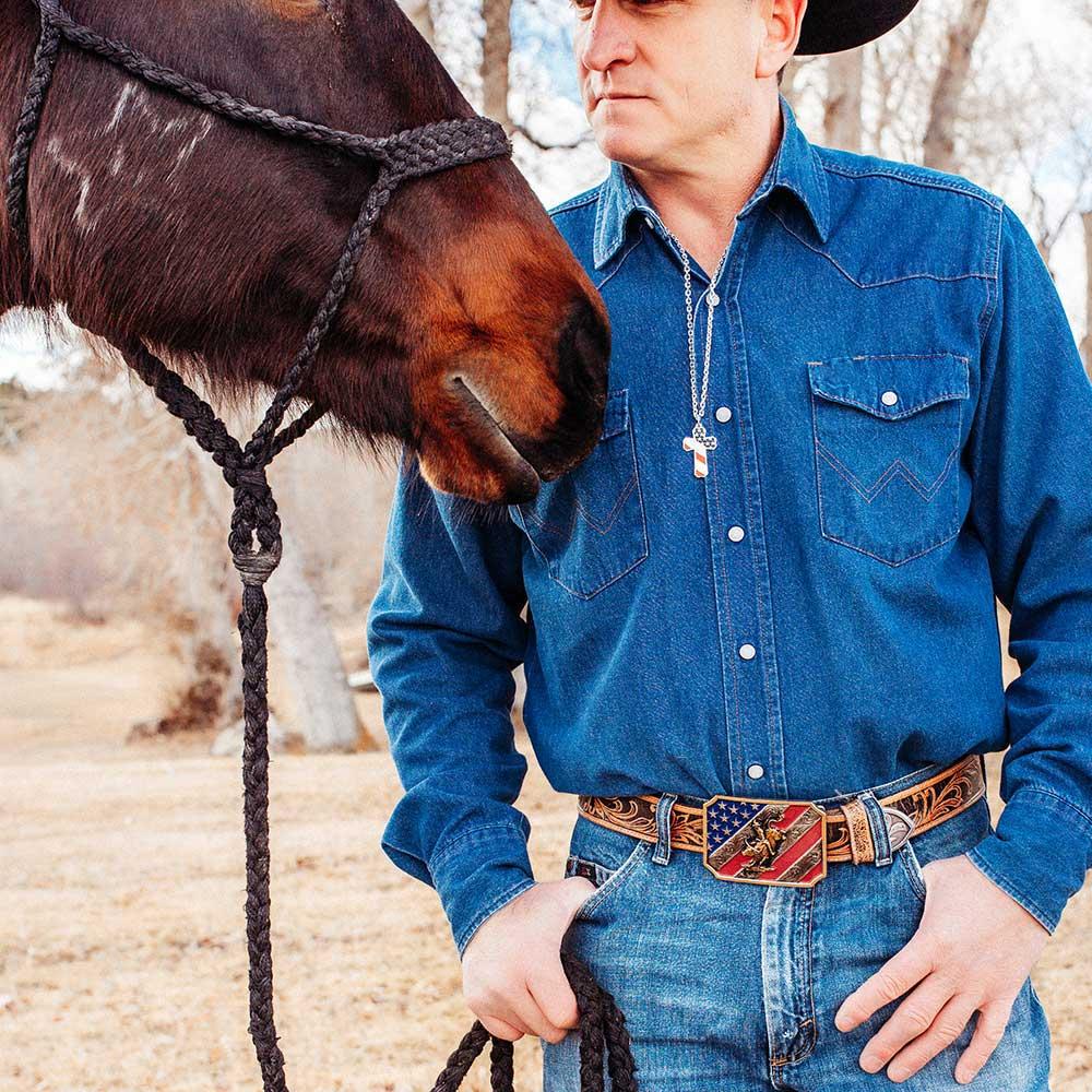 Patriot Bull Rider Attitude Belt Buckle