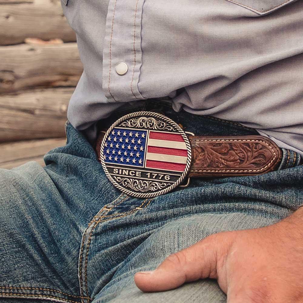 Trimmed Circular American Flag Attitude Belt Buckle
