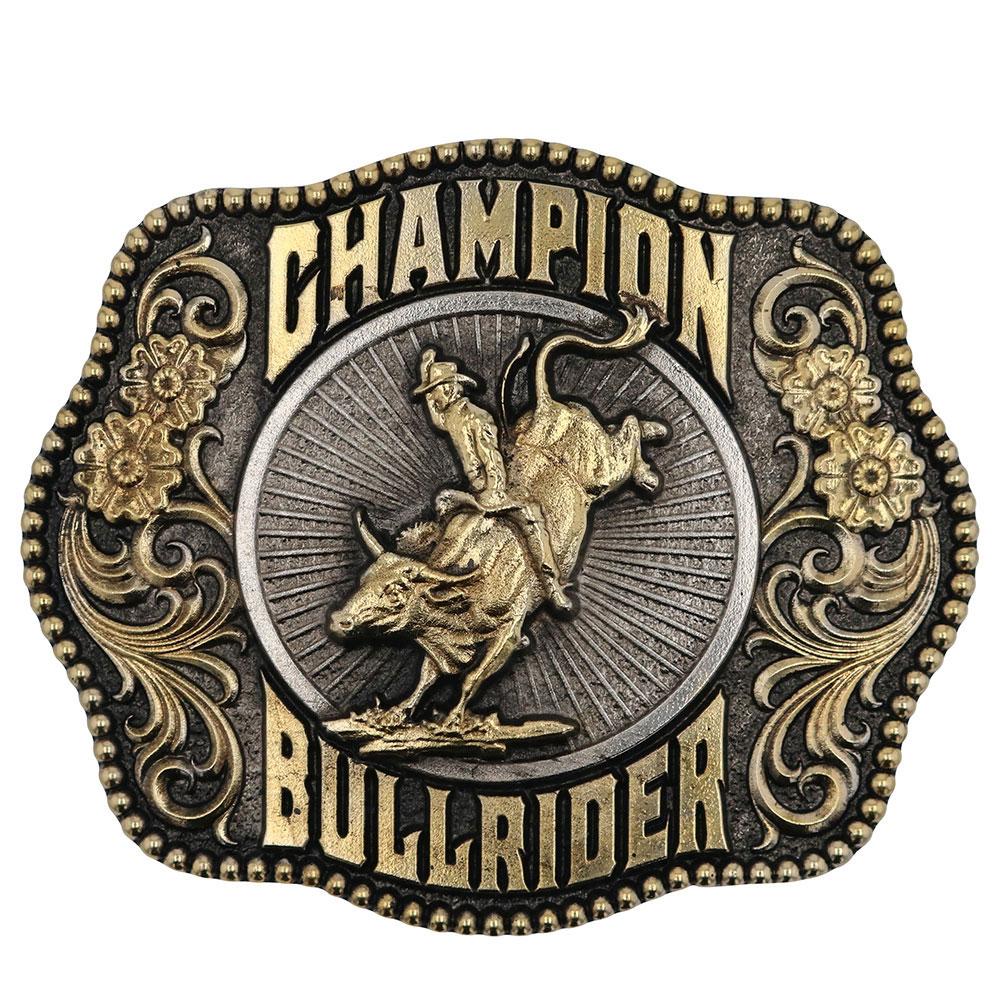 Champion Bull Rider Filigree Framed Attitude Belt Buckle