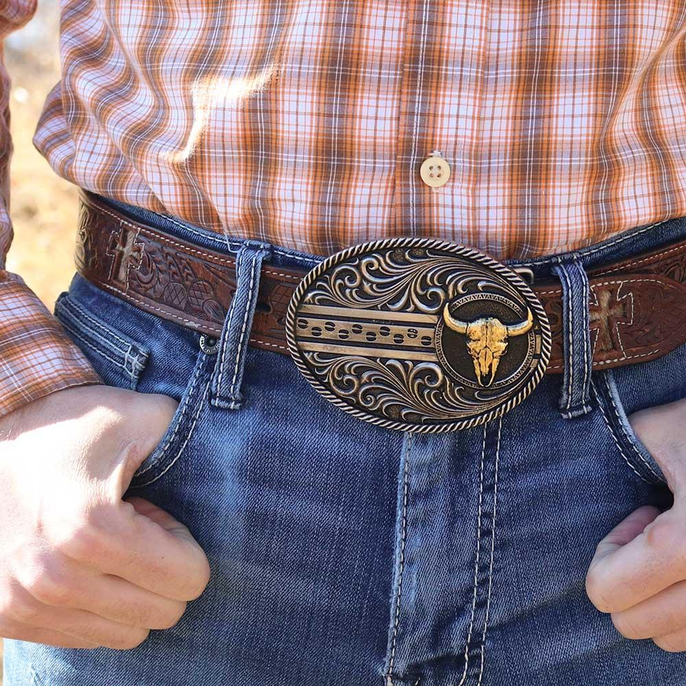 Filigree Dusk Cattle Road Attitude Belt Buckle
