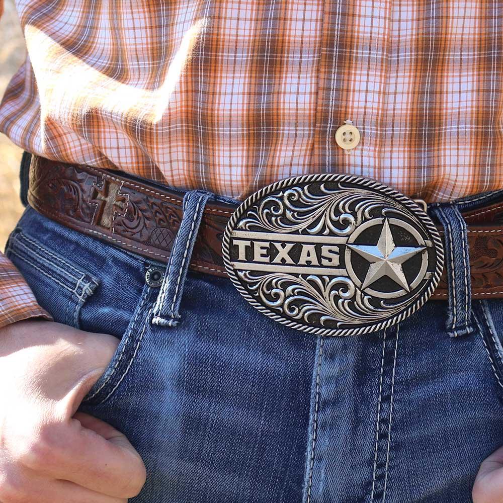 Gunmetal Texas Star Filigree Attitude Belt Buckle