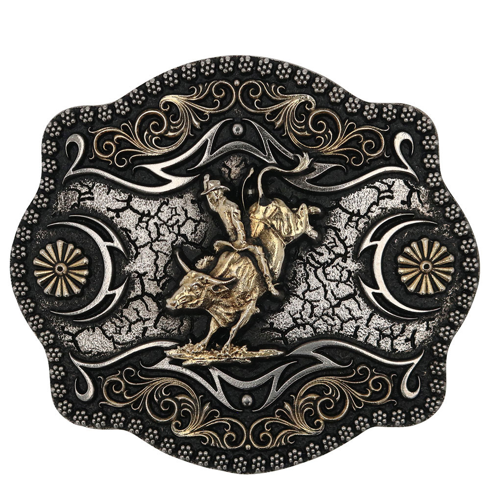 A-Blaze Filigree Framed Bull Rider Attitude Belt Buckle